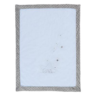 Couverture veloudoux 75x100cm poudre d'étoiles bleu Noukies