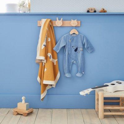Couverture bébé jacquard bio 75 x 100 cm aston et jack Noukies