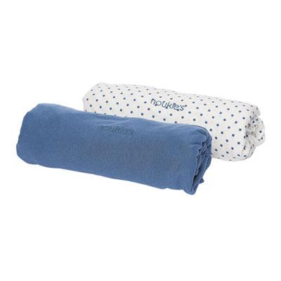 Lot de 2 draps housse 60 x 120 cm bleu céleste Noukies