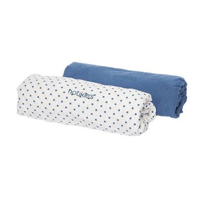 Lot 2 draps housse 70 x 140 cm bleu céleste Noukies