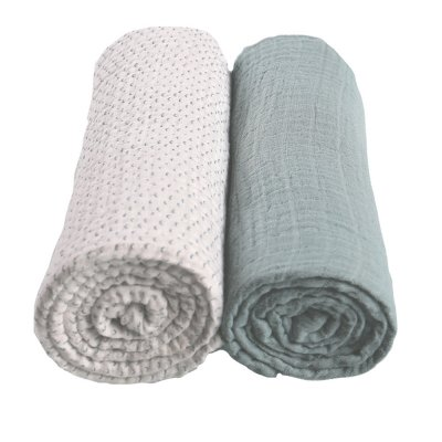 Lot de 2 draps housse 60 x 120 cm mousseline bio aqua moris et sacha Noukies