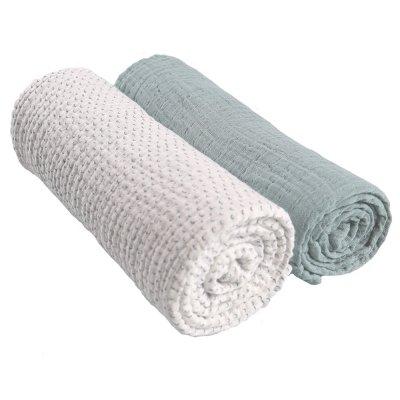 Lot de 2 draps housse 70 x 140 cm mousseline bio aqua moris et sacha Noukies