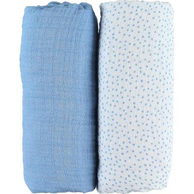 Lot de 2 draps housse 70 x 140 cm en mousseline bio aston et jack Noukies