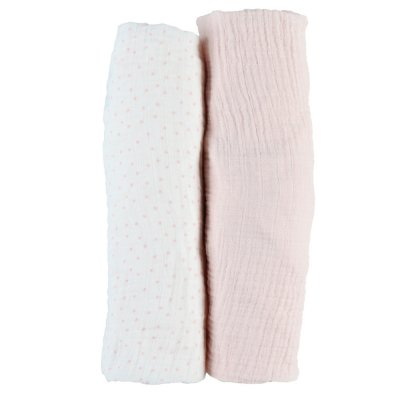 Lot de 2 draps housse 60 x 120 cm mousseline bio rose Noukies