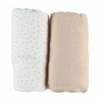 Lot de 2 draps housse 70 x 140 cm mousseline bio beige Noukies