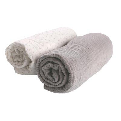 Lot de 2 draps housse 70 x 140 cm mousseline bio gris Noukies