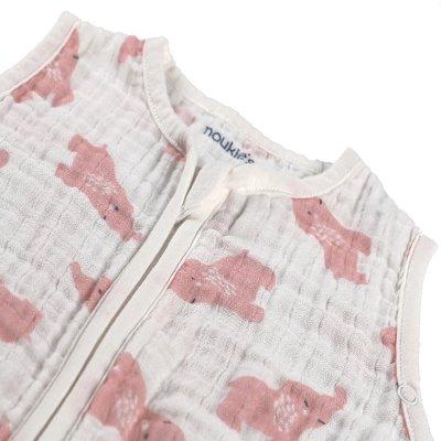 Gigoteuse elephant 70 cm rose clair mousseline bio Noukies