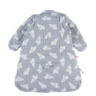 Gigoteuse nomade 50 cm gris clair mousseline bio Noukies