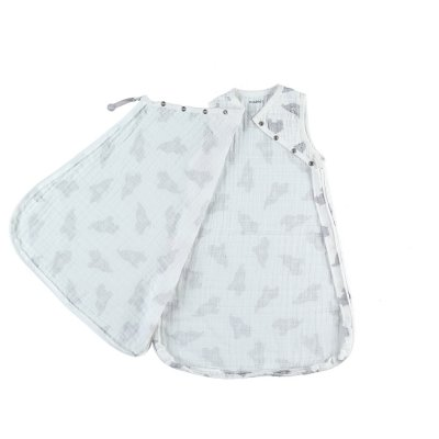 Gigoteuse elephant 50 cm gris clair mousseline bio Noukies
