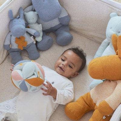 Jouet d'éveil bébé balle de préhension coton bio multicolore Noukies