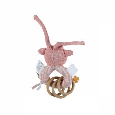 Hochet anneau coton bio lola rose Noukies