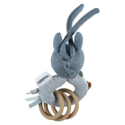 Hochet anneau coton bio paco bleu Noukies