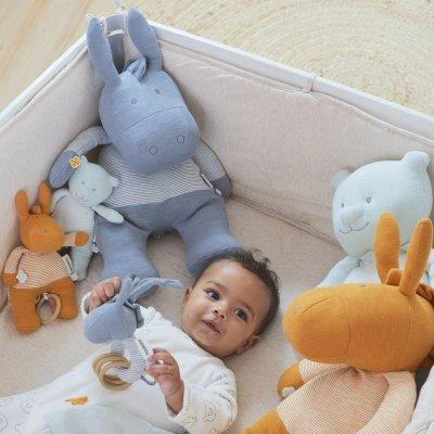 Peluche coton bio paco bleu 40 cm Noukies