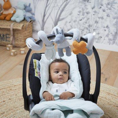 Jouet de lit bébé spirale d'activités coton bio paco bleu Noukies