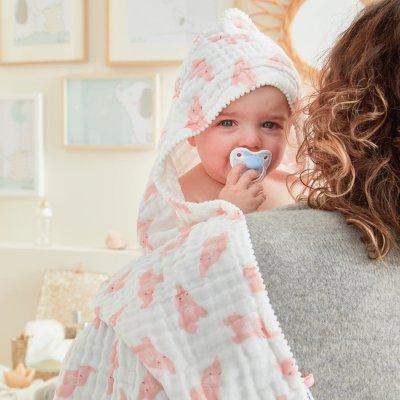 Sortie de bain bébé mousseline bio rose clair Noukies