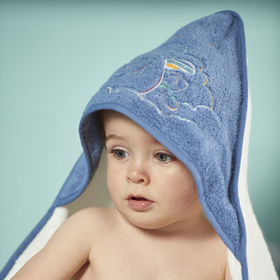 Sortie de bain bébé guss et victor blanc Noukies