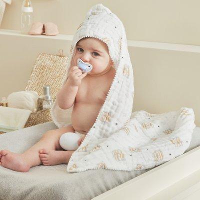 Sortie de bain bébé mousseline bio écru Noukies