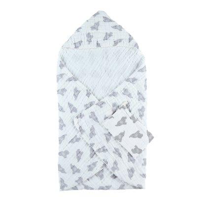 Sortie de bain bébé mousseline bio gris clair Noukies