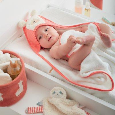 Sortie de bain bébé terracotta moris et sacha Noukies
