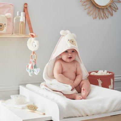Sortie de bain bébé rose moris et sacha Noukies