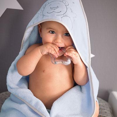 Sortie de bain bébé poudre d'étoiles bleu Noukies
