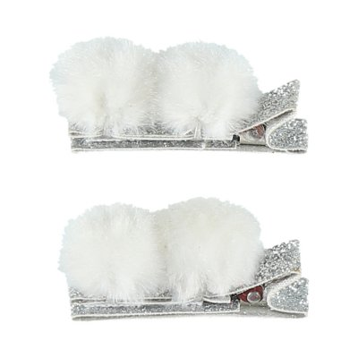 Accessoire pour cheveux 2 pinces pompons gris Noukies