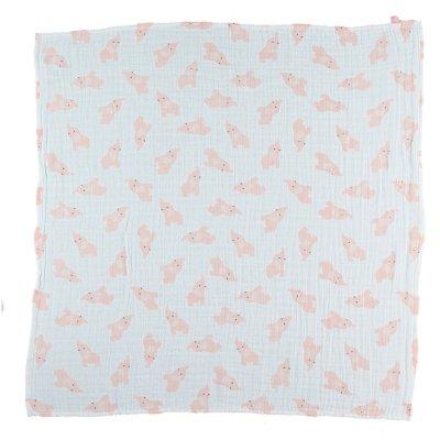 Lot de 3 langes 70 x 70 cm mousseline bio rose clair Noukies