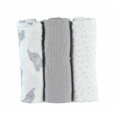 Lot de 3 langes 70 x 70 cm mousseline bio gris Noukies
