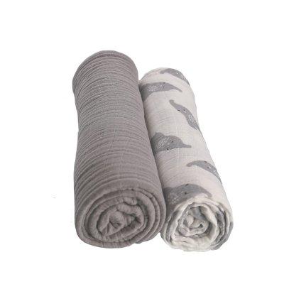 Lot de 3 langes 100 x 100 cm mousseline bio gris Noukies