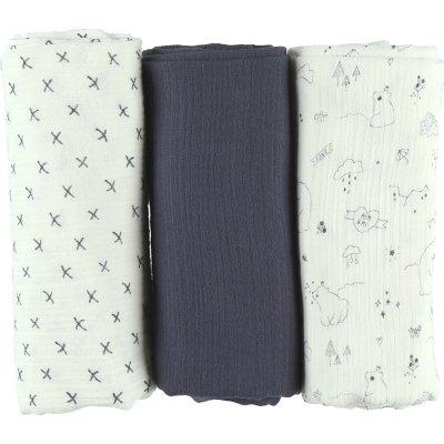 Lot de 3 langes coton bio 70 x 70 cm cachou Noukies