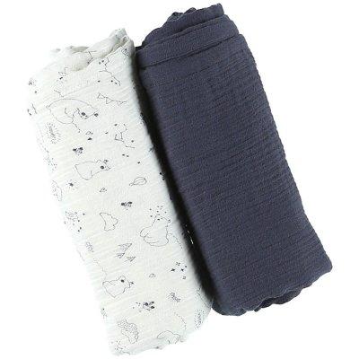 Lot de 2 langes coton bio 100 x 100 cm cachou Noukies