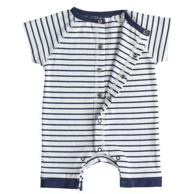 Combishort en jersey coton bio rayé blanc et bleu Noukies