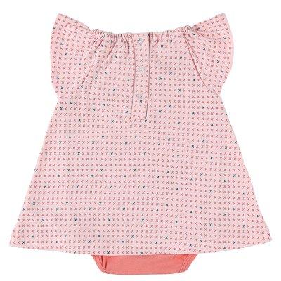 Combi robe en jersey coton bio rose Noukies