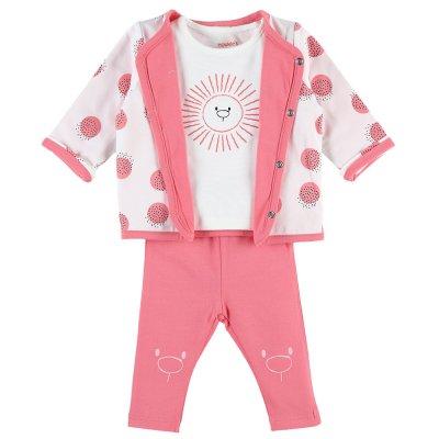 Ensemble cardigan , tee-shirt , pantalon rose cocon coton bio Noukies