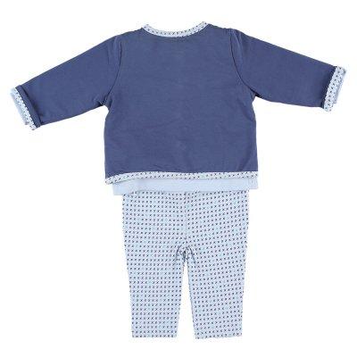 Ensemble cardigan , tee-shirt et legging bleu en coton bio Noukies