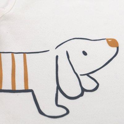 Ensemble bermuda rayé bleu + tee-shirt blanc en coton bio Noukies