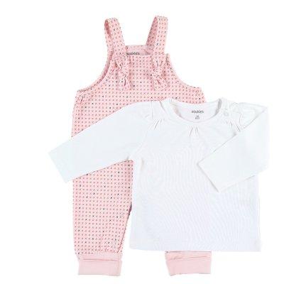 Ensemble salopette et tee shirt manches longues rose en coton bio Noukies