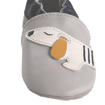 Chaussons en cuir gris chien Noukies