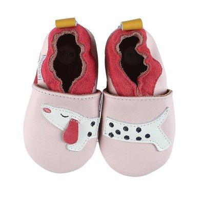 Chaussons en cuir rose chien Noukies