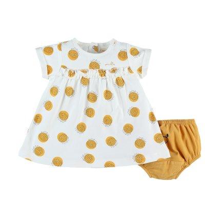 Robe avec bloomer jaune en coton bio Noukies