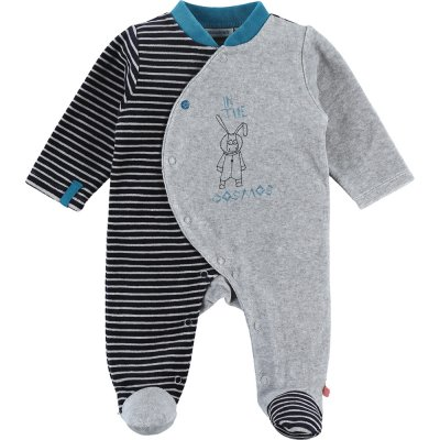 Pyjama dors bien velours gris rayé imagine Noukies