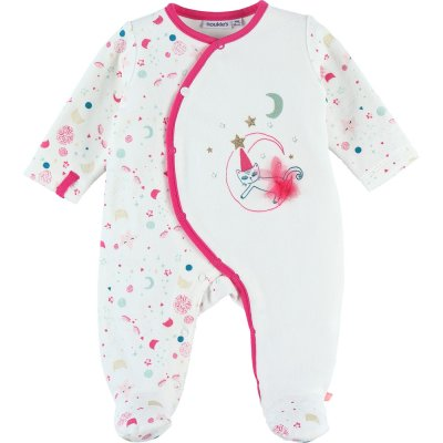 Pyjama dors bien velours imagine blanc et rose Noukies