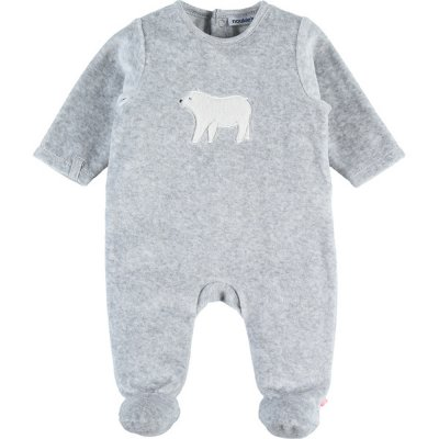 Pyjama dors bien velours winterland gris brodé ours Noukies