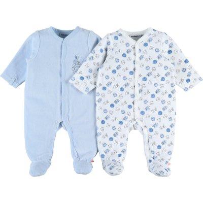 Lot de 2 pyjama dors bien velours plume set bleu / gris Noukies