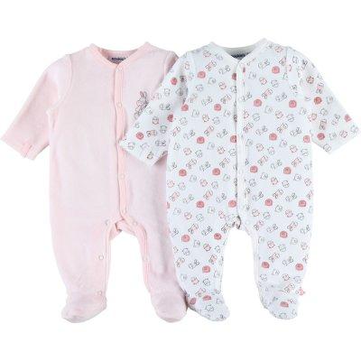 Lot de 2 pyjamas dors bien velours plume set rose / blanc Noukies