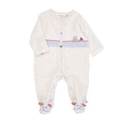 Pyjama dors bien velours blanc bord de mer boy Noukies