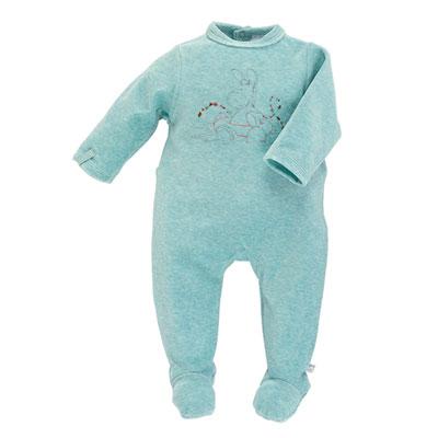 Pyjama dors bien velours turquoise peps boy Noukies