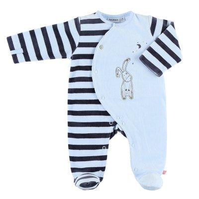 Pyjama dors bien velours smart boy rayé bleu clair Noukies