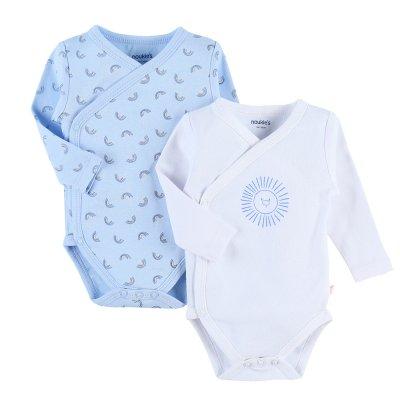 Lot de 2 bodies manches longues bleu en coton 100% bio Noukies