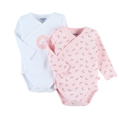 Lot de 2 bodies manches longues rose en coton 100% bio Noukies